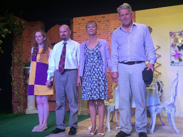 The cast: Naomi Scott, Matthew Meehan, Marilyn Dunbar, and Nick Coleman. Chandler's Ford Chameleon Company performing Relatively Speaking, 2015.