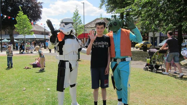 Greedo and a Stormtrooper visited Hope Eastleigh at the park. At Hope Eastleigh 2015 Leigh Road Recreation Ground.