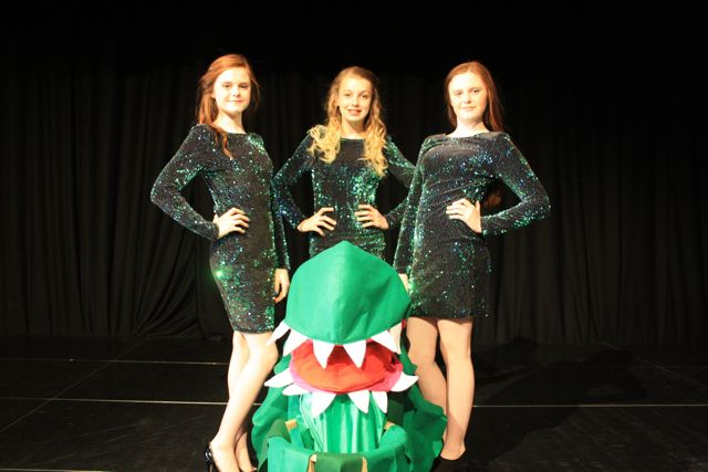 Three urchins, Chiffon, Ronette, Crystal, with Audrey II.- Little shope of Horrors Toynbee School