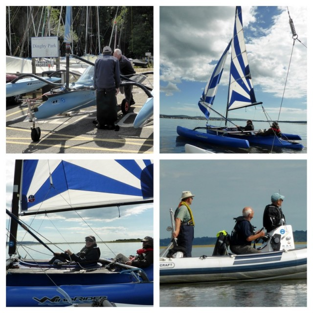 Sailability in Lymington. Launching a trimaran, sailing, Safety boat in attendance.