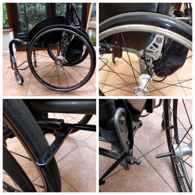 Modern wheelchair made from Titanium. Simple footrest, easily removed wheels. A brake is essential.