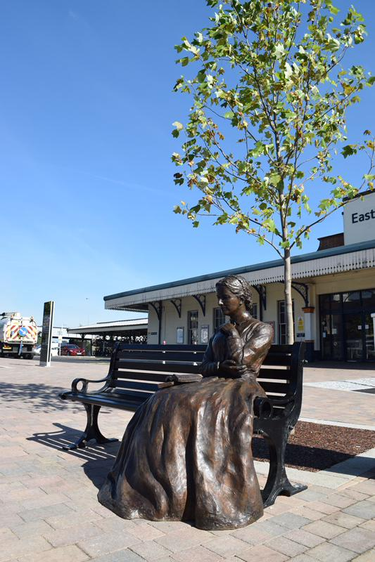 Charlotte Mary Yonge. The new statue in Eastleigh, by Vivien Mallock