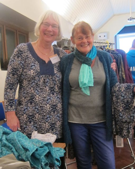 Hazel Bateman (right): a happy customer. With Sue Moll, from Asvanna Fairtrade.