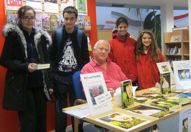 Richard Hardie with some local children who attended his talk today at Chandler's Ford Library.