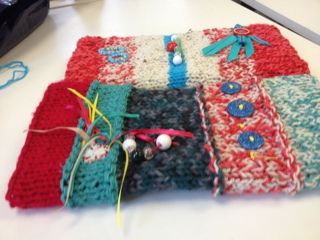 Twiddlemuffs made by Tricia Pearce for dementia patients in hospital.