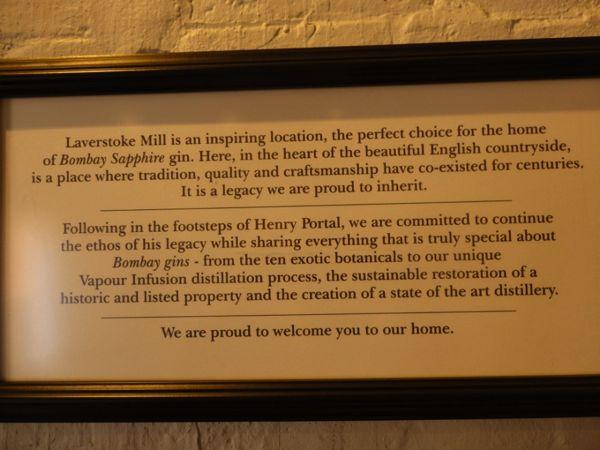 Bombay Sapphire Distillery Laverstoke Mill note