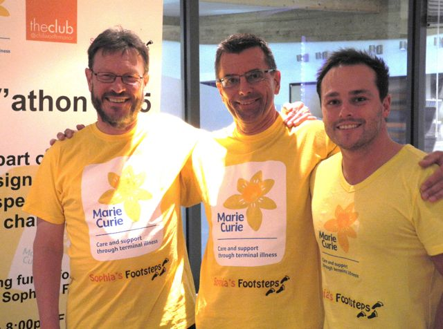 CVathon organisers Phil Hall, Mark Pedley, and Kris Hillary. Marie Curie Sophia's Footsteps.