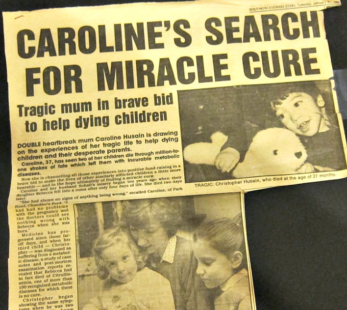 Caroline Husain's story and raising awareness about Metabolic Diseases in children. (News report: 31st January 1989, Southern Evening Echo).
