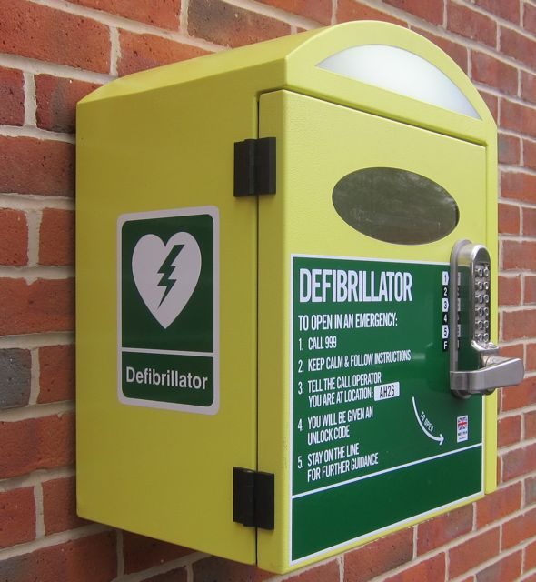 One of the Public access defibrillators (PADs) in Chandler's Ford.