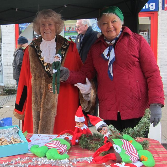 "Lyn Darbyshire MBE with Mayor of Eastleigh Councillor Jane Welsh - supporting <a href=""http://ramalleyhall.com/"">Ramalley Hall in Chandler's Ford</a>. The mayor is holding a Christmas Elf."