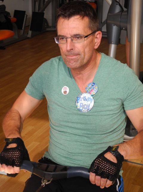 Mark Pedley rowing to success ... and on his birthday too. Marie Curie Sophia's Footsteps.