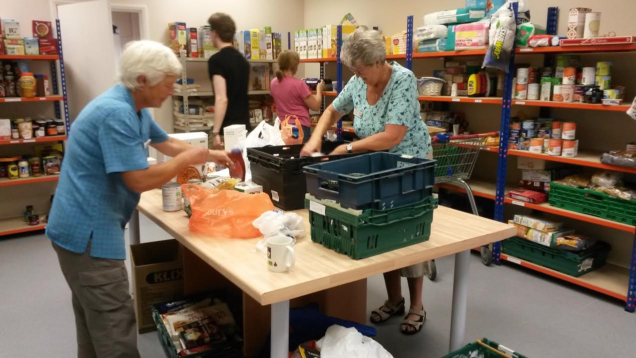 Volunteers helping at Eastleigh Basics Bank