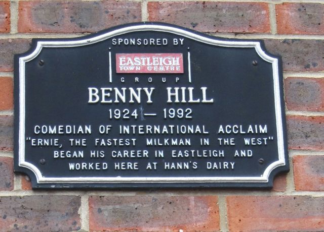 A Benny Hill plaque in Eastleigh town centre.