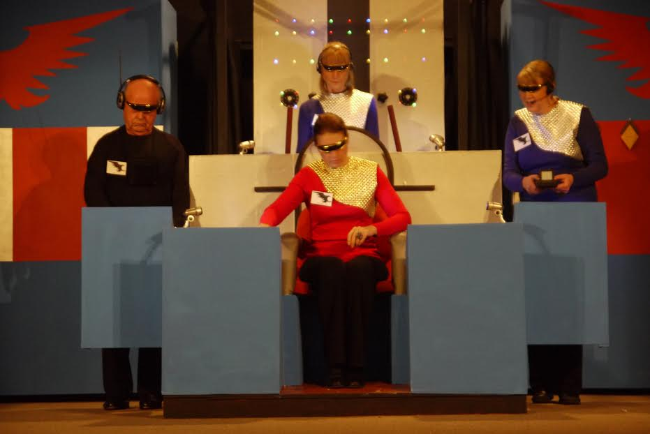 The Crew of the 'Cosmic Eagle' - Captain Mishara Armstrong played by Sarah Sullivan, No. 1 (Adina) - Barbara Bound (right), No.2 (Megan) - Diana Harrison, and Andi the Android played by John Archer.