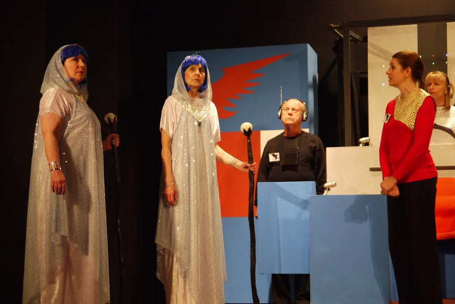 Lady Serenity (Alison Standing; second from left), and the Irresistible Lady Galene, on the left, played by Margaret Smithson.