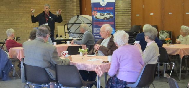 Steve Morant from the Blue Lamp Trust talked to Beacon Café visitors about The Bobby Scheme, a practical service providing free home security, long-life smoke alarms and peace of mind for the vulnerable and elderly within Hampshire.