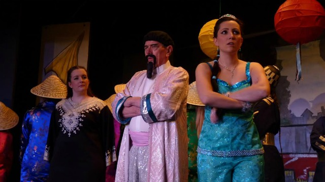 Aladdin - pantomime performed by Chandler's Ford Chameleon Theatre Company, January 2016. Emperor played by Geoff Dodsworth.