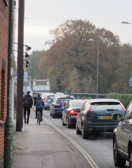 Many students cycle on pavement on Hursley Road to school.