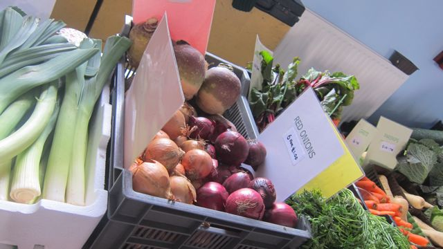 Fresh fruits and vegetables from Tom's Fresh Food stall.