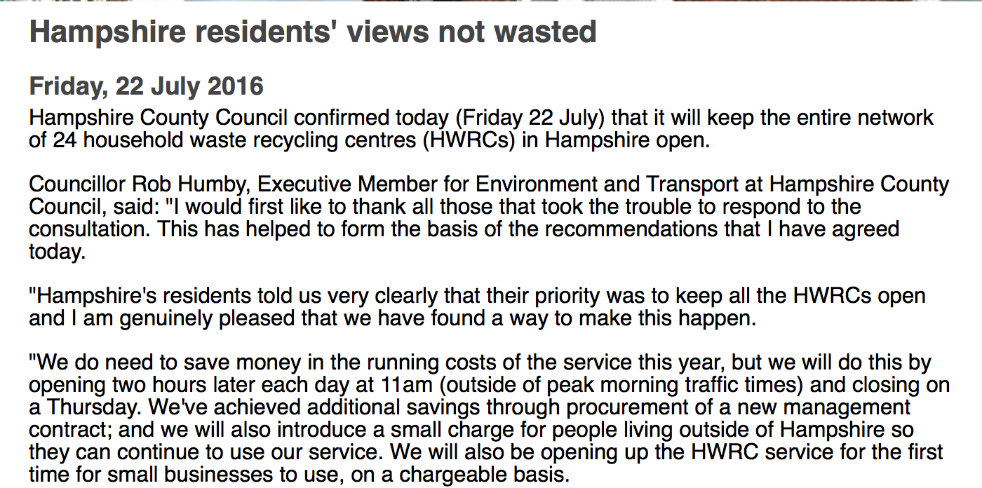Hampshire County Council's review on 24 household waste recycling centres (HWRCs) in Hampshire.