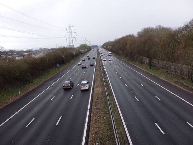 The M3 today. In 1988 this was a two-lane dual carriageway