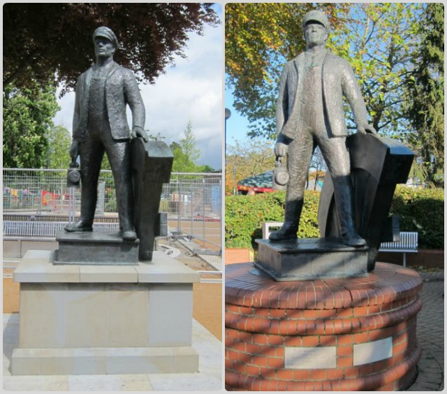 The old (right) ad new (let) Railwayman statue in Eastleigh town centre. The statue was unveiled on 8th April 1995.