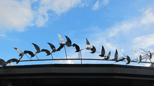 The sculpture at Velmore Church: flocks of doves representing peace and harmony and the gathering of the community.