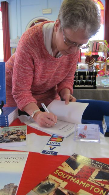 Penny Legg signing on my new book, at Age Concern Centre, Chandler's Ford.