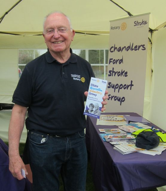Mike Scrivener from Rotary Club promoting Stroke Support group: 2nd Thursday of the month 2pm - 4pm at Velmore community Centre.