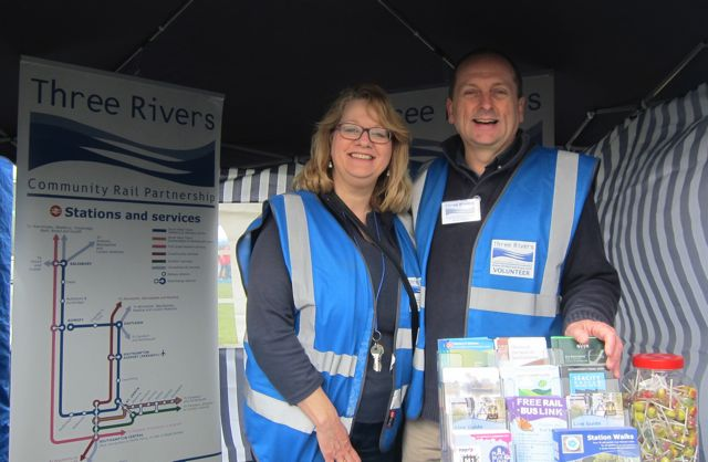 "Mark Miller, Three Rivers Community Rail Partnership officer, with his wife Diana sharing rail network news and promoting <a href=""http://chandlersfordtoday.co.uk/review-station-walks-book/"">Station Walks Book</a>."