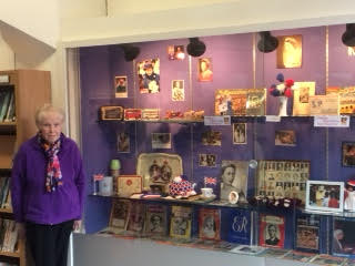 Margaret Tee with her exhibition at Chandler's Ford Library.
