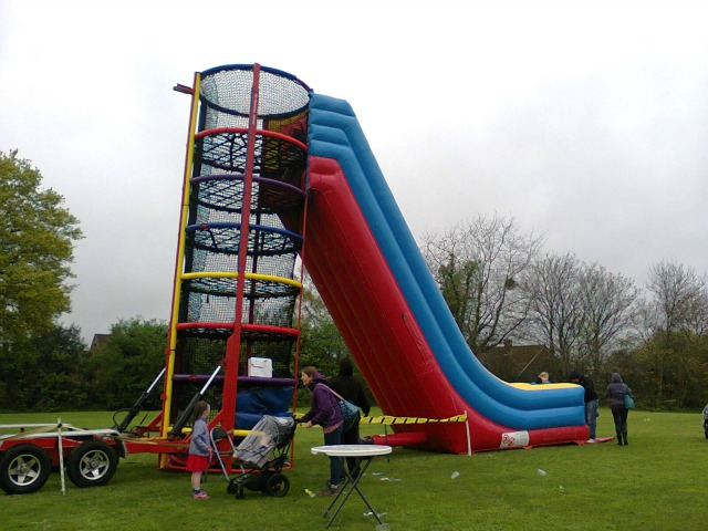 One of the bouncy slides.