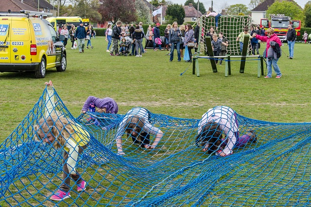 "Race against the clock - Children on the ""Gair Gas"" assault course. Image credit: Daniel Newcombe."