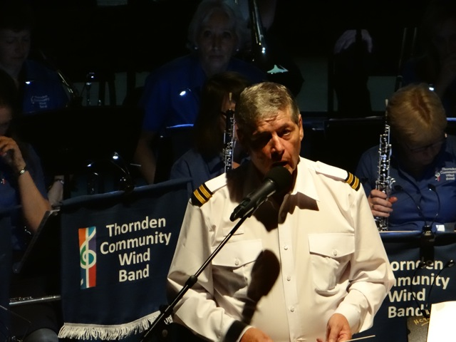 Captain Cole addressing his passengers. Thornden Community Wind Band image by Richard Doyle 2016.