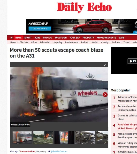 Chandler's Ford cubs and beavers visited Brownsea Island today. On their journey on A31, however, one of the two coaches was on fire. All children and adults were safe. Daily Echo report.