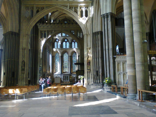 Part of the inside of Salisbury Cathedral, the pillars are amazing (and are out at the top!)