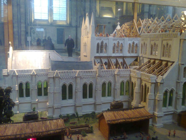 Side view of model of Salisbury Cathedral