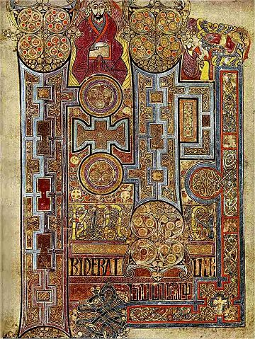 Book of Kells. Illuminated first page of St John's Gospel. Trinity College, DUblin.