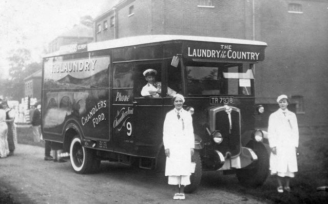 Early promotional advert? 1920 - The Laundry, Chandler's Ford. My father (in smart uniform) was the driver, with the laundry girls.