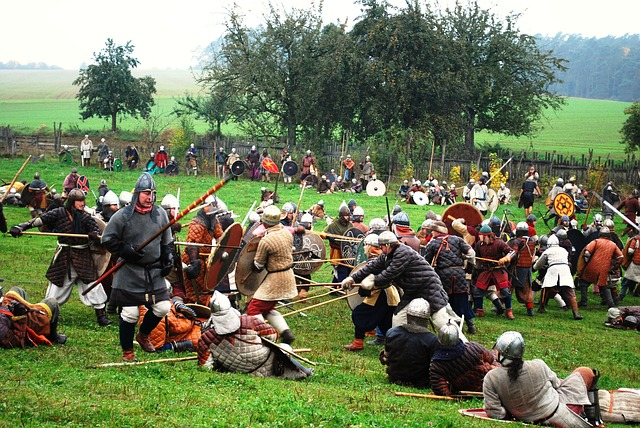 Medieval battle re-enactment but the Battle of Bosworth would have been far bloodier. Image via Pixabay
