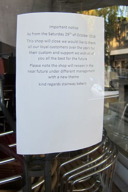 Stairway Bakery Chandler's Ford closure 31 Oct 2016 Fryern Arcade Chandler's Ford Eastleigh