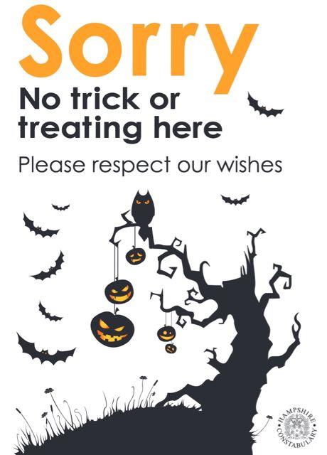 No trick or treat poster Eastleigh Borough Council