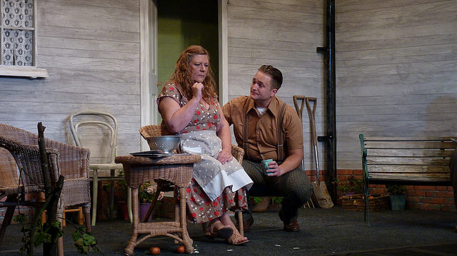 Son Chris pleads with mum Kate to accept brother Larry's death but to no avail. All My Sons - performed by Chameleon Theatre Company, Chandler's Ford.