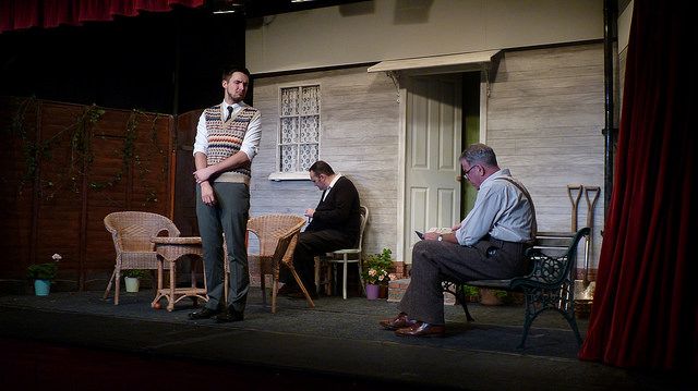 Simple Stage Set and We're in an American backyard. All My Sons - performed by Chameleon Theatre Company, Chandler's Ford.