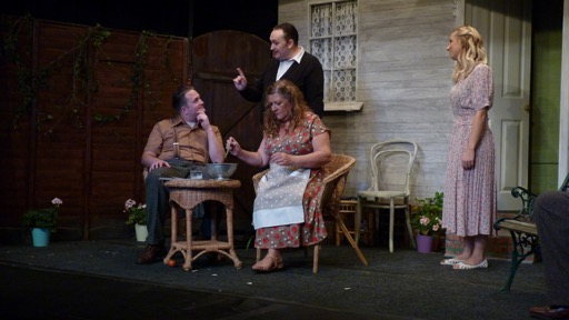 (Frm the left): Matt Costen, Kevin Bowers, Liz Strevens, Lisa Dunbar. All My Sons by Arthur Miller. Chameleon Theatre Company of Chandler's Ford, Oct 2016 production. All My Sons, Chameleon Theatre Company, Chandler's Ford. Image credit: Stuart Wineberg