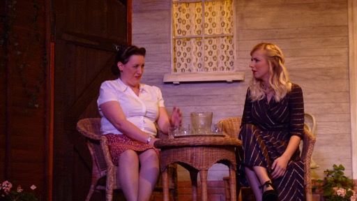 (Left) Cari Laythorpe, with Lisa Dunbar. All My Sons by Arthur Miller. Chameleon Theatre Company of Chandler's Ford, Oct 2016 production. All My Sons, Chameleon Theatre Company, Chandler's Ford.Image credit: Stuart Wineberg