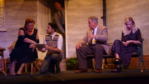 (From the left): (From the left): Liz Strevens, Paul Jones, Matt Costen, Nick Coleman, Lisa Dunbar. All My Sons by Arthur Miller. Chameleon Theatre Company of Chandler's Ford, Oct 2016 production. Image credit: Stuart Wineberg. All My Sons, Chameleon Theatre Company, Chandler's Ford.
