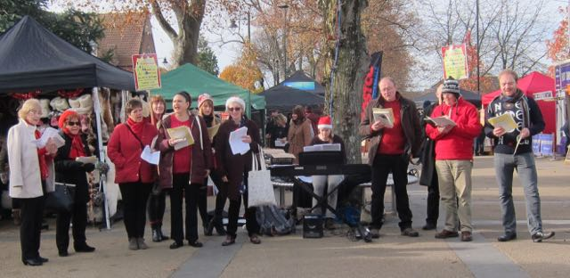 Members from Eastleigh Operatic and Musical Society singing Christmas carols in Eatsleigh, 2016.