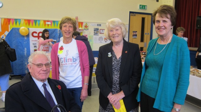 Former Eastleigh Mayor Cllr Jane Welsh opened the 43rd Christmas Market run by Chandler's Ford Joint Charities Committee. (Left to right): Len Welsh, Caroline Husain, Cllr Jane Welsh, and Val Milner, chairman of the Chandler's Ford Joint Charities Committee.