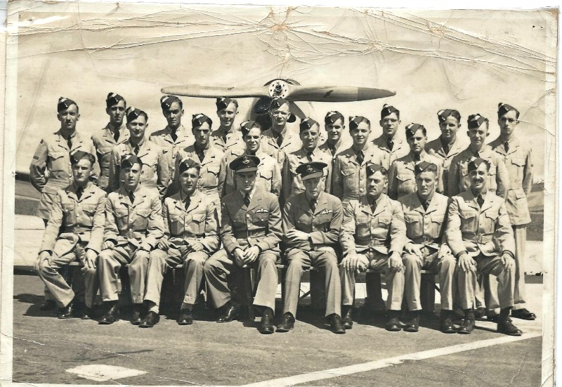 Frank as a trainee pilot during World War Two. He is the 4th one in from the left on the back row.